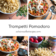 Inspired by the best pasta dish ate in a restaurant in Sorrento we created a Trompetti Pomodoro Pasta with real Parmigiano Reggiano