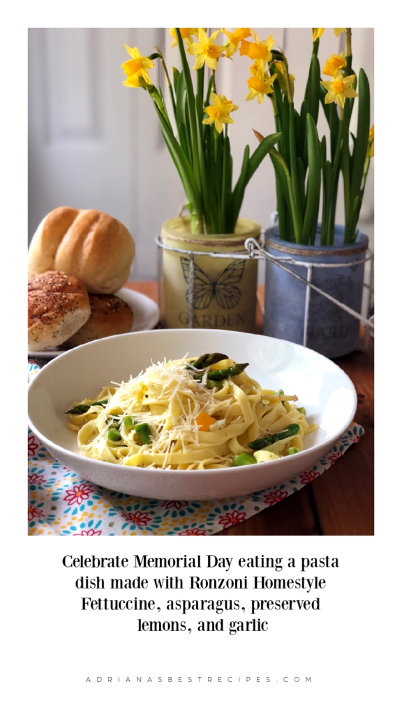Celebrate Memorial Day eating a pasta dish made with Ronzoni Homestyle Fettuccine, asparagus, preserved lemons, and garlic. It is delightful!