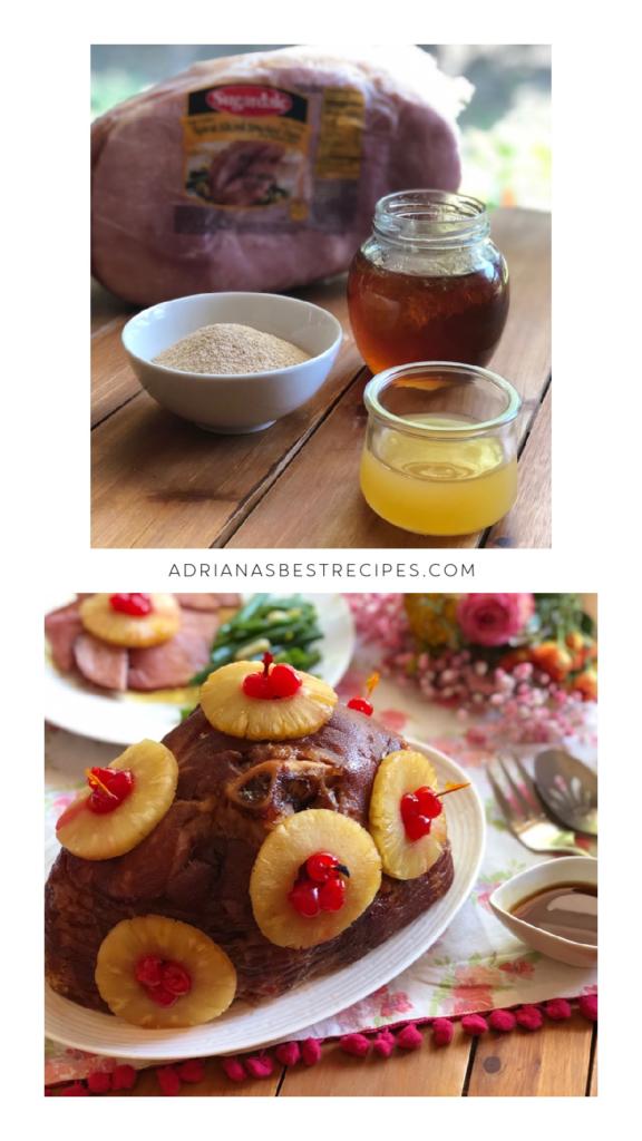 Los ingredientes para el jamón incluyen miel de abeja, azúcar morena, canela, clavos, piña y cerezas