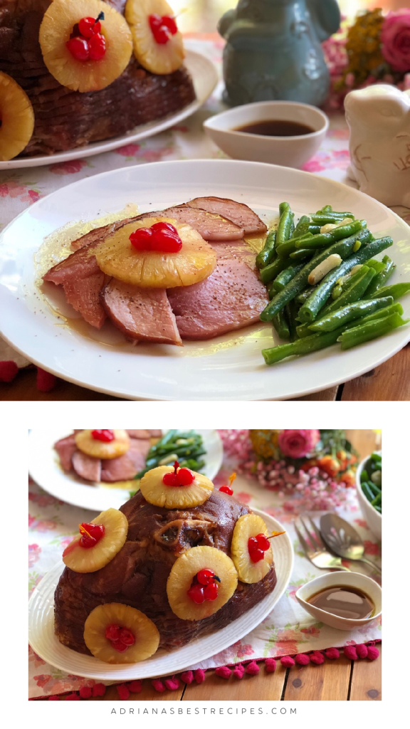 The ham is paired with a green bean casserole made with sautéed green beans with garlic and olive oil