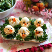 These deviled eggs are a show stopper. Served on a tray with curly parsley for a fun set up.
