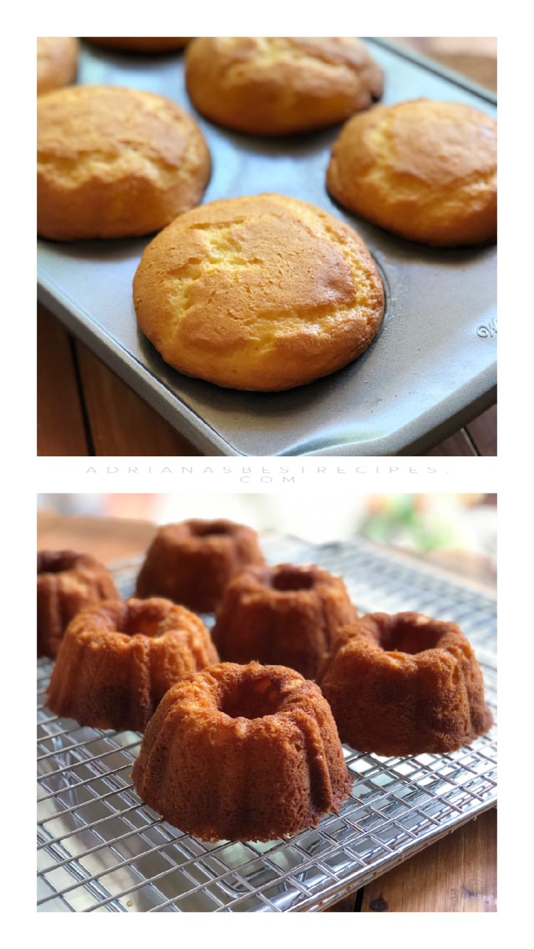 The mini cakes out of the oven make sure to cool them in a rack before frosting