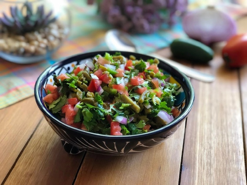 This is the cactus salsa recipe with fresh produce
