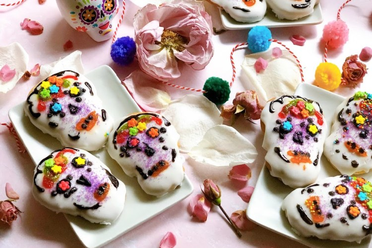 sugar skull cookies with colorful motifs