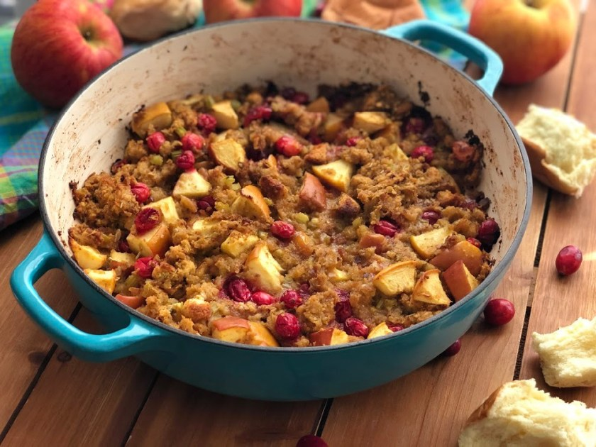 This is the Apple Cranberry Stuffing with Hawaiian Bread served family style