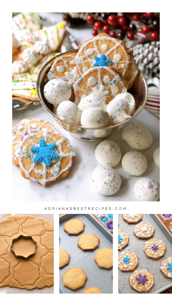 Step by step for making the flurry cookies with sugar flurries and snowflakes. Plus royal icing and metallic sugar.