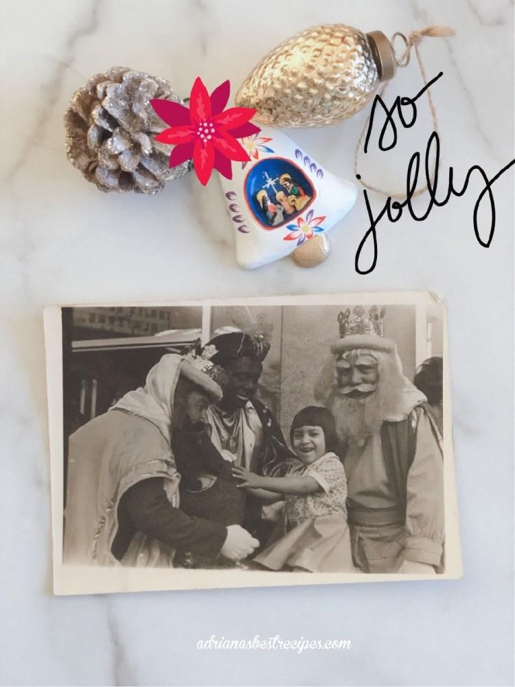 Una niña tomándose una foto con los Reyes Magos en México en los años setenta.