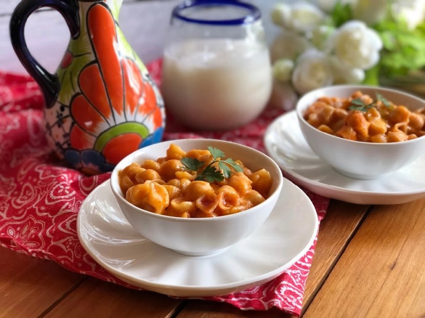 Mexican Pasta Shells cooked using dry pasta, Mexican style tomato puree, and Better Than Bouillon