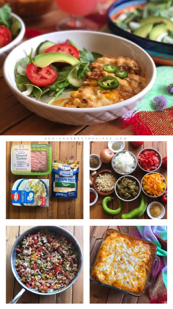 Showing the step by step process for making the Mexican style casserole.