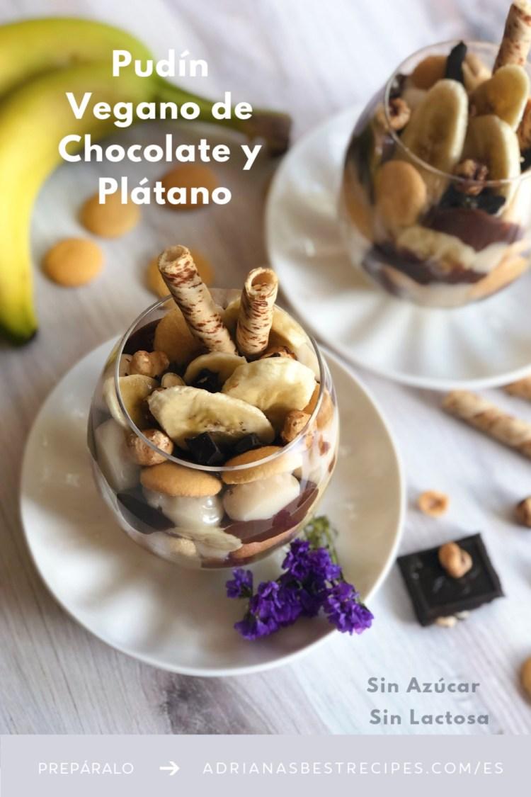 Pudín Vegano de Chocolate y Plátano con galletitas, avellanas tostadas y chocolate negro. Un postres sencillo, sin azúcar y sin lactosa.