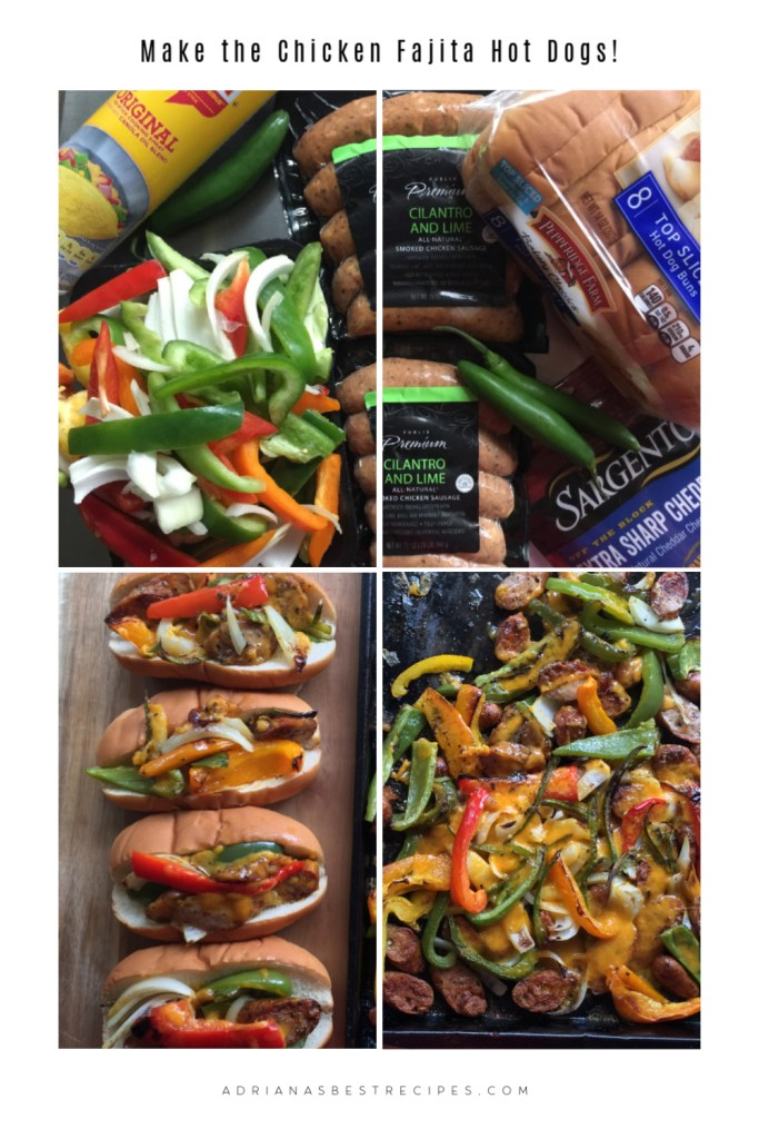 A collage of pictures showing the ingredients for making one sheet pan hot hogs