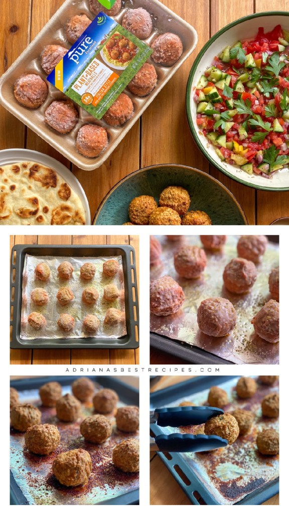 Showing the process on how to oven bake the plant-based meatballs