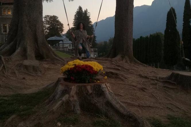 eu, în leagănul florilor cu martori Caraimanul si Castelul Cantacuzino