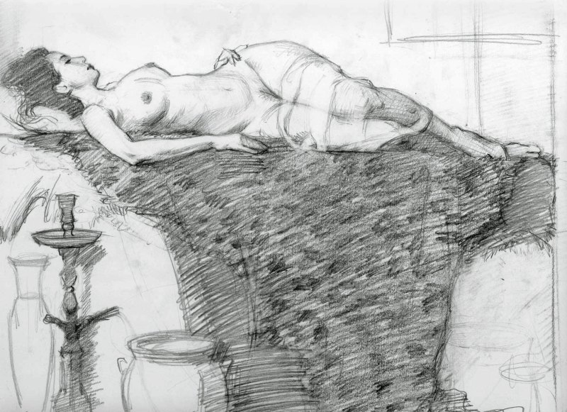 Adrian Gottlieb - pencil study for Marble Palace