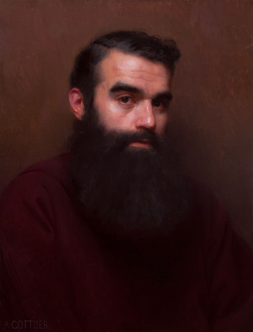 Brother Fernando by Adrian Gottlieb, 20 x 16 inches, oil on panel