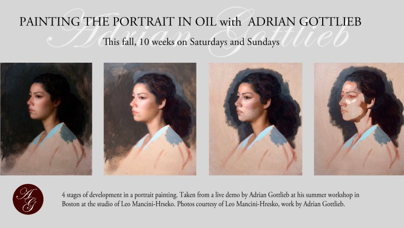 4 stages of portrait painting by Adrian Gottlieb