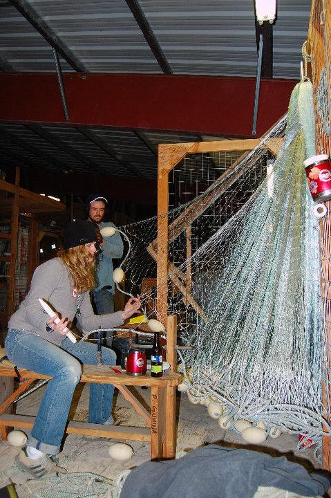 Hanging net in the fishermen's warehouse
