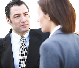 Businesspeople having conversation