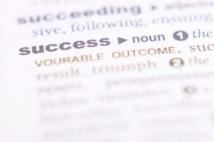 Dictionary definition of success on white page