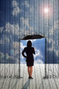 A picture depicting a woman holding an umberella, with data raining down on her