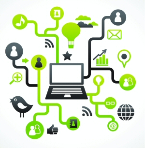 Picture of a laptop connected to various social network logos, depicting social media