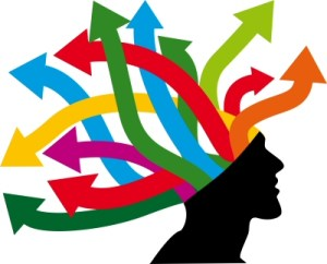 Arrows coming from a persons head representing brainstorming