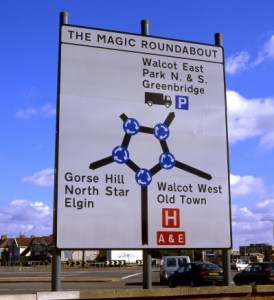Traffic sign: Magic Roundabout Swindon. A complex junction, with a central roundabout and many orbital roundabouts.