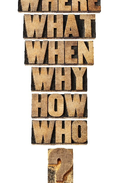 A list of questions: Where, what, when, why, how, who