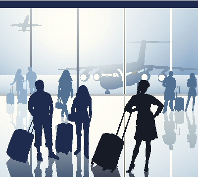 Drawing of people waiting in an airport