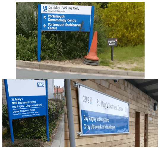 Picture of signs on a hospital campus, outside the main buildings:  NHS Treatment Centre Day Surgery X Ray Enablement Centre Dermatoloty Centre