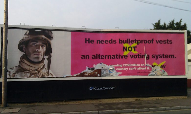 Billboard: He needs bulletproof vests not an alternative voting system