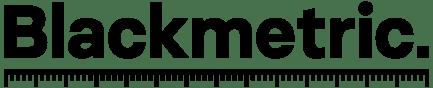 "Blackmetric: Logo. Word ""Blackmetric"" with a ruler beneath it"