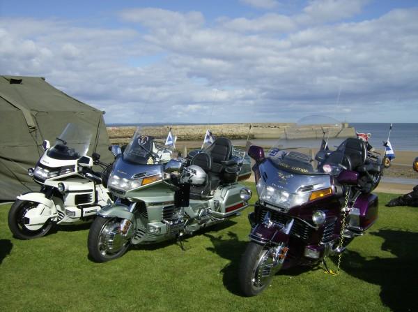 Honda Goldwing motor bikes with St Andrews Pier behind.
