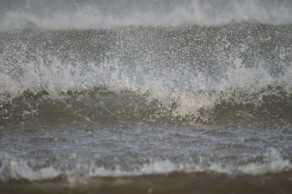 The strong wind hit the waves head on at the West Sands.