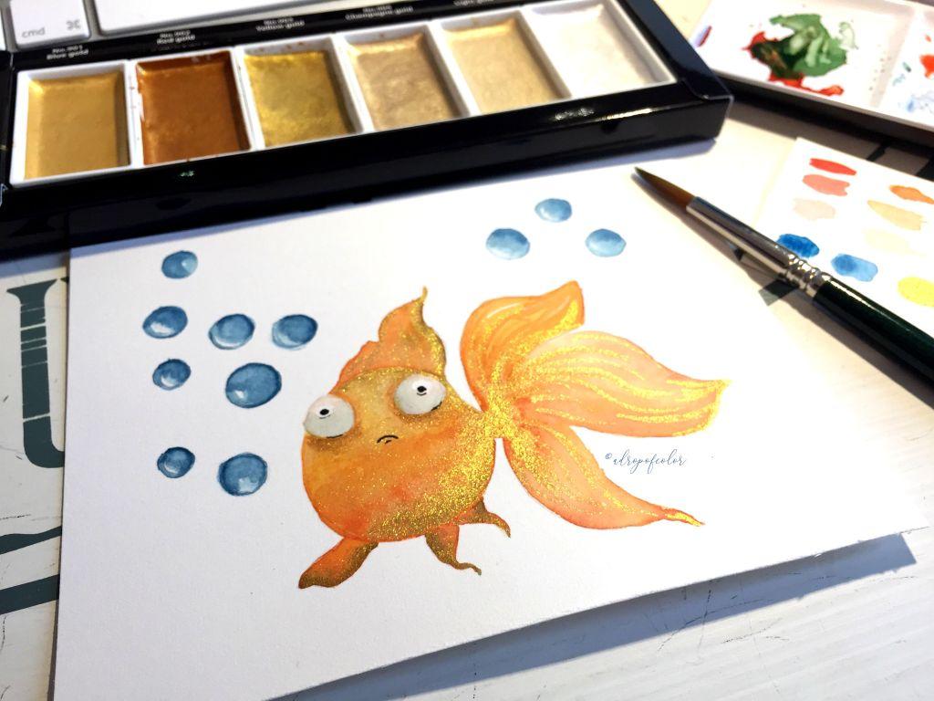 pesce rosso ad acquerello