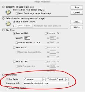 Adobe Photoshop cc Image Processor Run Actions