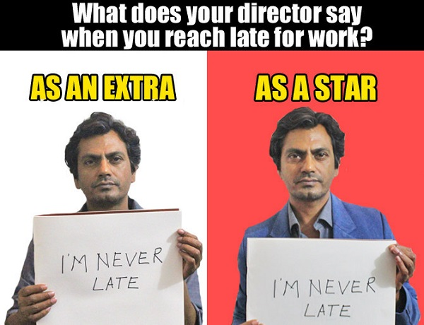 what director say when nawaz late for work