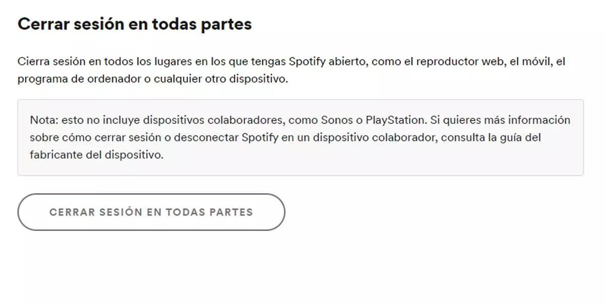 Cerrar sesion en todas partes por cuenta robada en Spotify