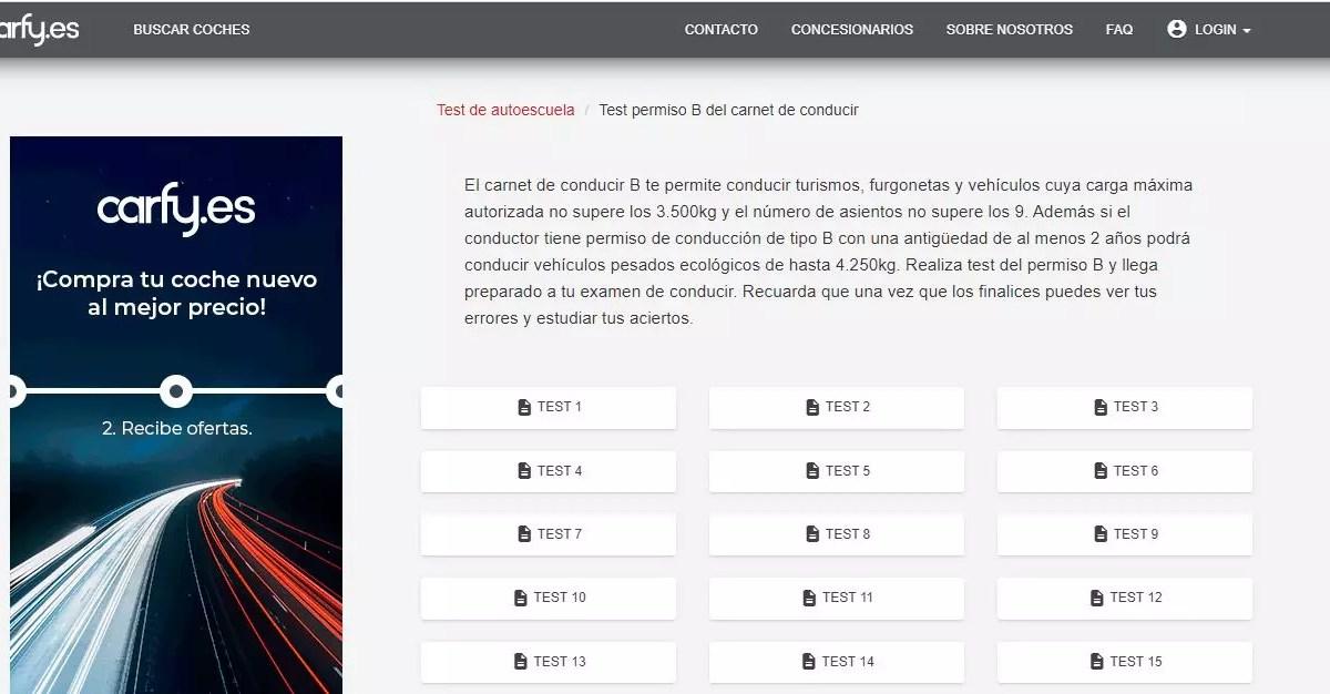 Carfy - Tests de autoescuela gratis online