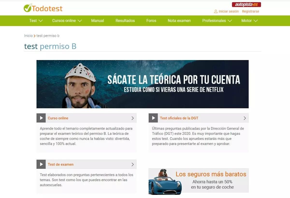 Todotest - Tests de autoescuela gratis online