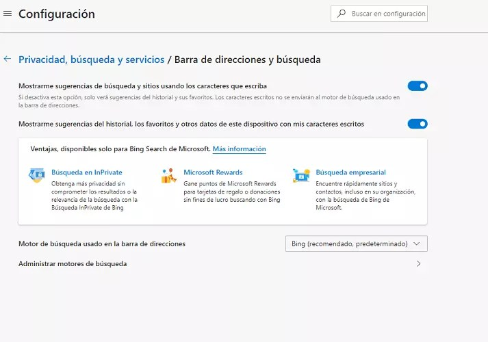 Microsoft Edge motor de búsqueda