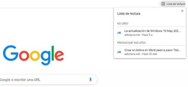 lista lectura Chrome