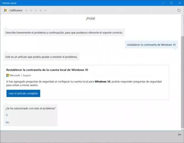 soporte técnico de Windows 10