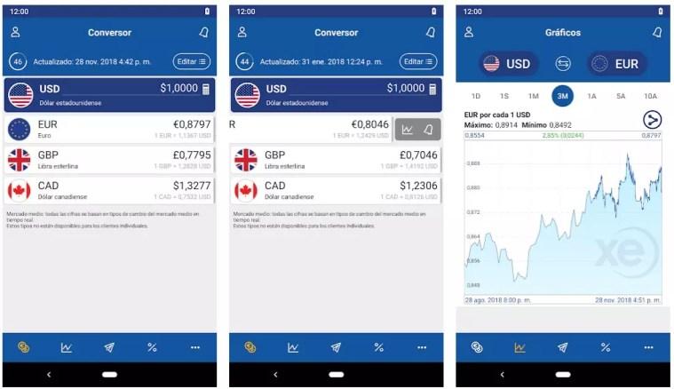xe currency apps para viajar