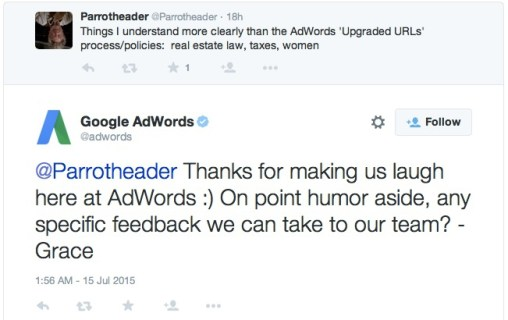 screenshot of adwords twitter response on their new urls
