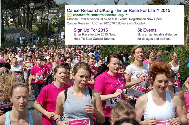 large group of women doing race for life
