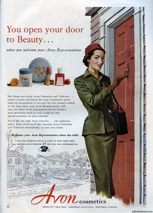 Avon Cosmetics ad found in the October 1953 issue of Good Housekeeping magazine.