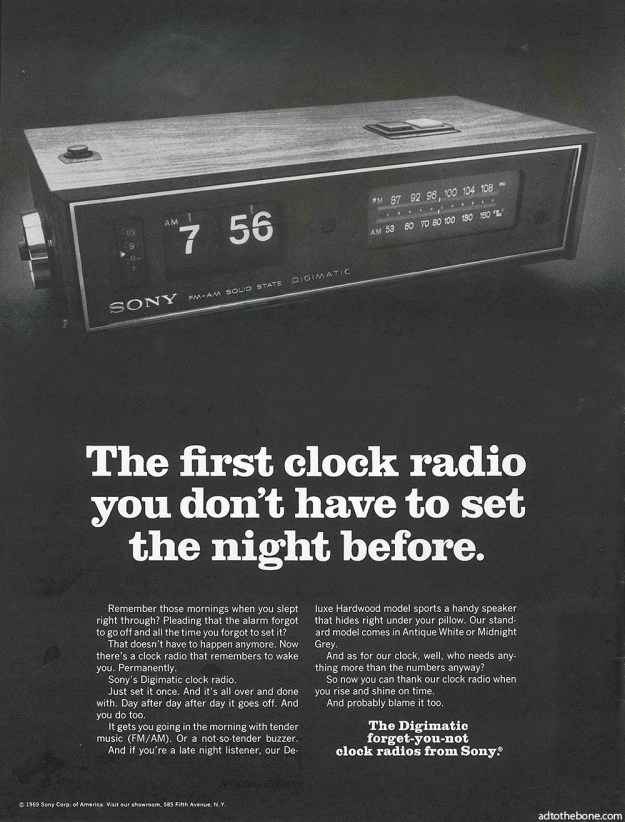 1969 ad for the Sony Digimatic Alarm Clock Radio