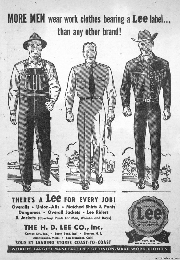 Magazine/digest ad for Lee Work Clothes found in the June, 1951 issue of Popular Western.