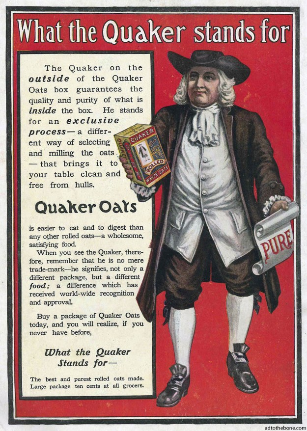 I forgot to note the year of this Quaker Oats magazine ad, but the packaging matches those sold in the late 1890s.